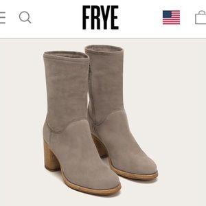 "FRYE ""Addie Mid"" Mid-Calf Heeled Bootie in Grey"